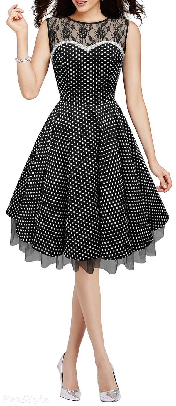 Black Butterfly 'Vivien' Vintage Polka Dot 50's Dress