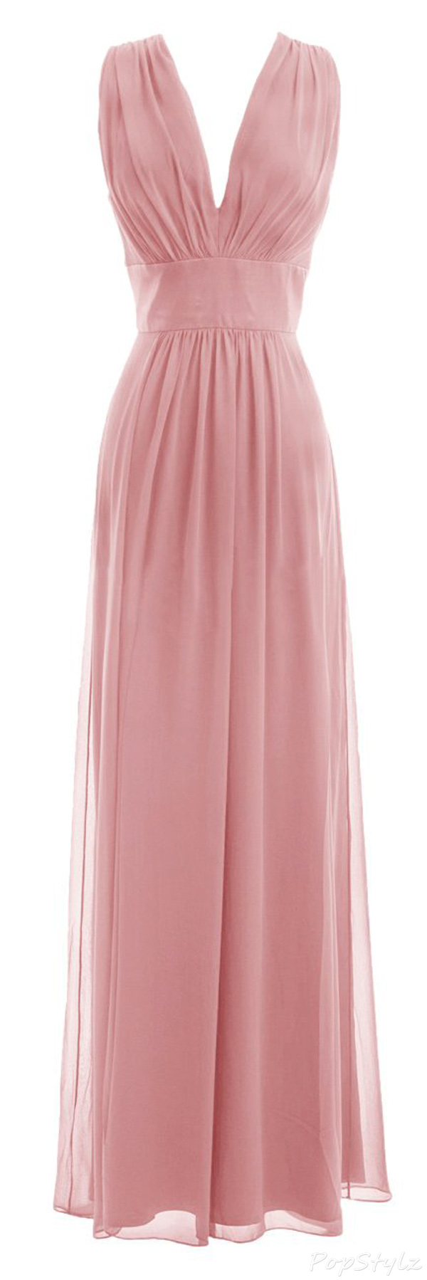 Diyouth Long Column Chiffon V-neck Formal Gown