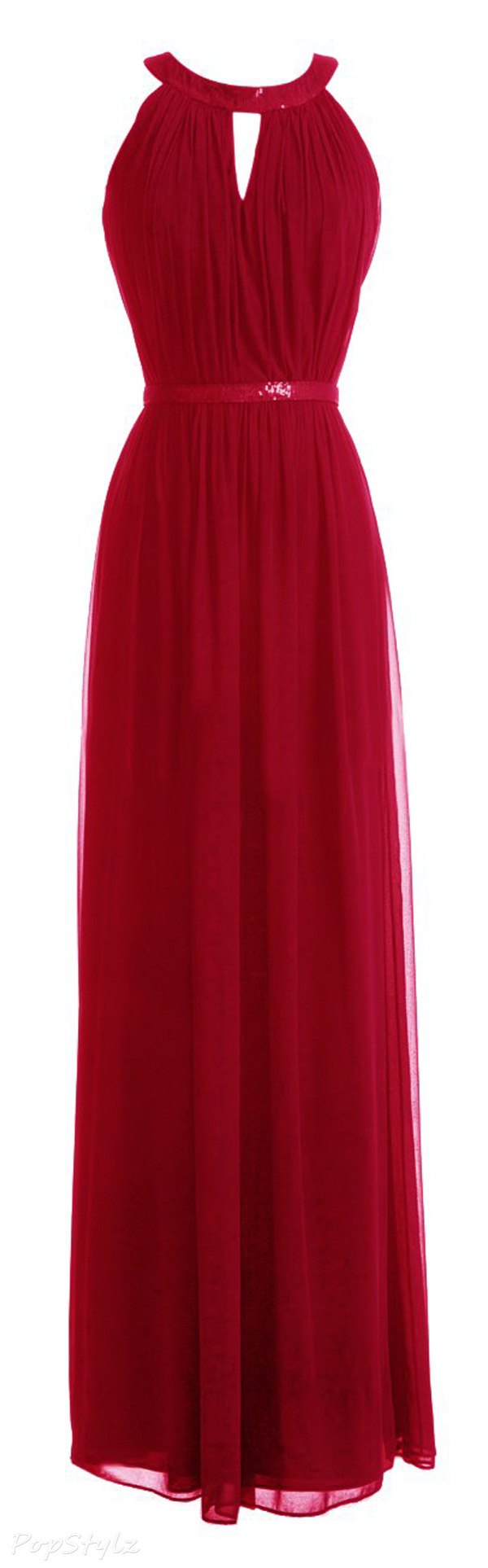 Diyouth Collar Sequins Belt A Line Long Chiffon Evening Dress