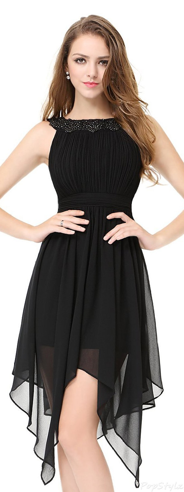 Ever Pretty 05002 Round Neckline Ruched Bust Asymmetric Party Dress
