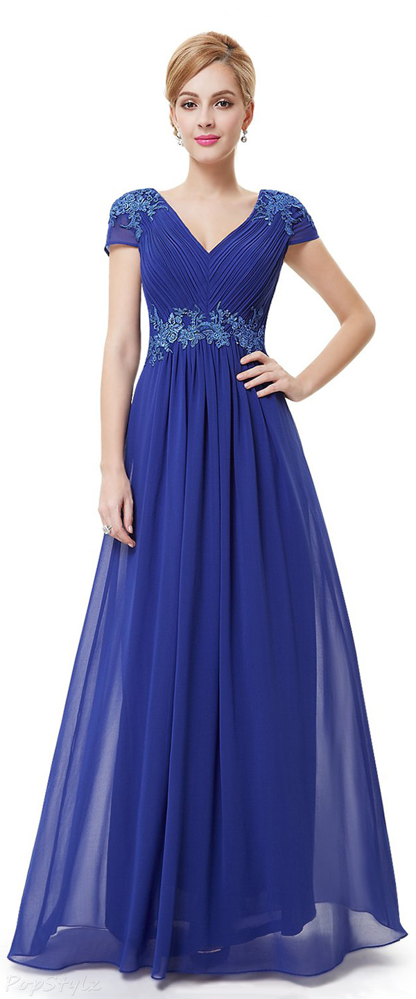 Ever Pretty 08467 Cap Sleeve V Neck Embroidered Evening Gown