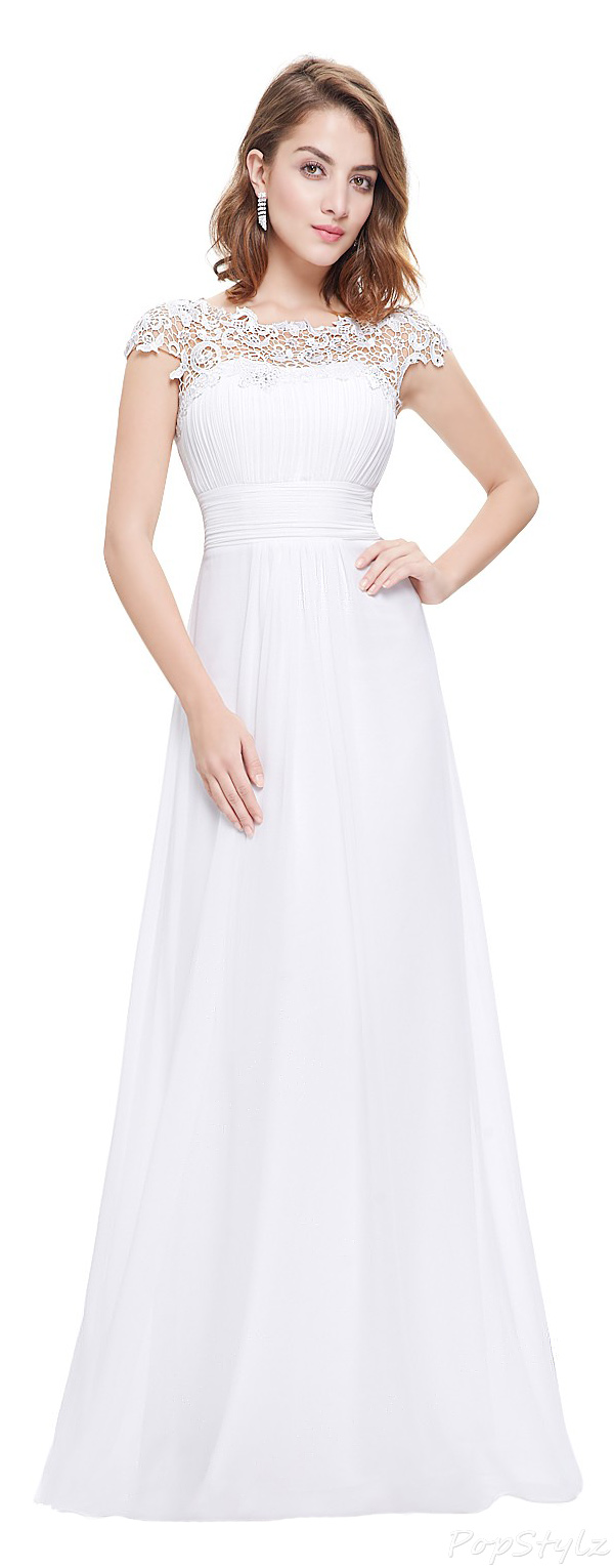 Ever Pretty 09993 Cap Sleeve Lace Neckline Ruched Bust Evening Gown