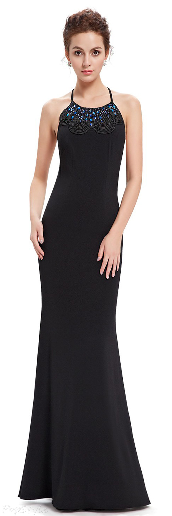 Ever Pretty 08558 Long Black Sleeveless Halter Evening Dress