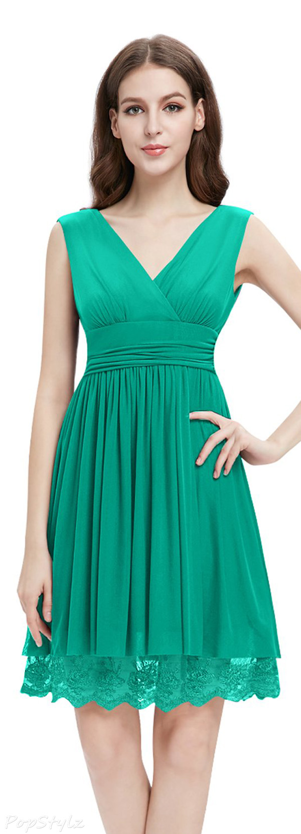 Ever Pretty 00279 Double V-neck Ruched Cocktail Party Dress