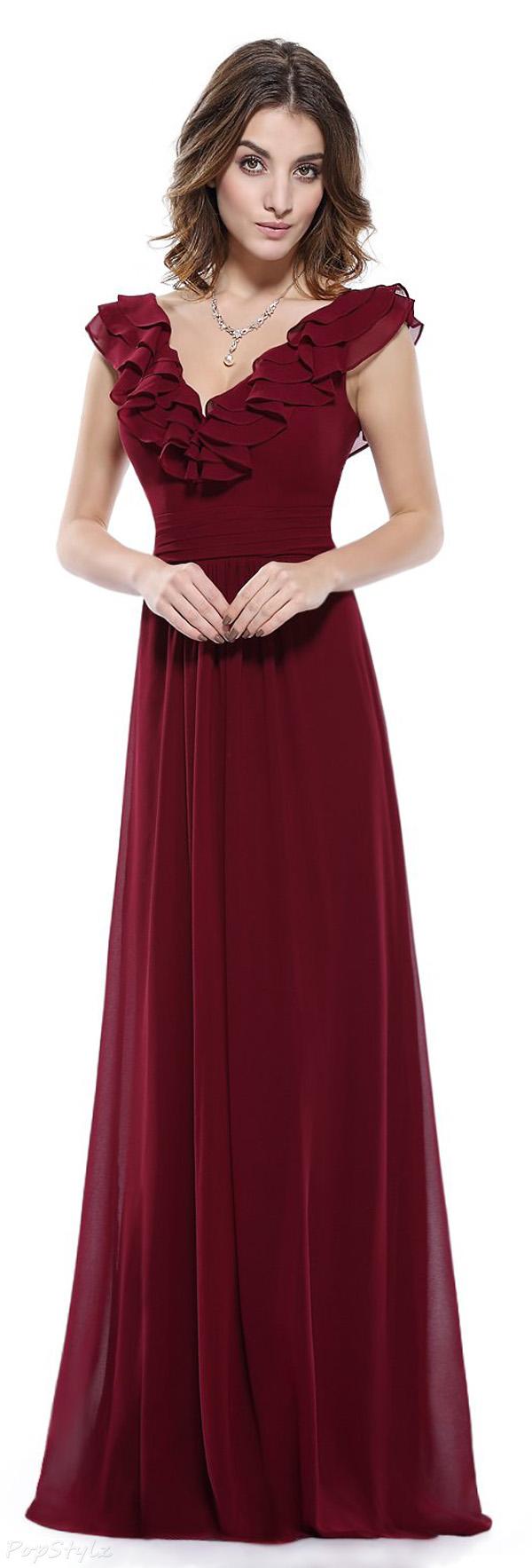 Ever Pretty 08500 Double V-Neck Ruffles Evening Dress