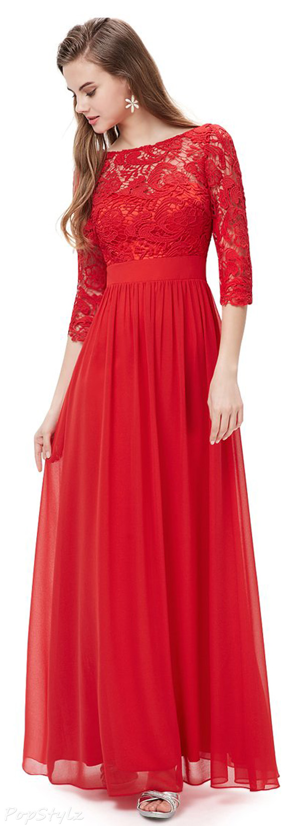 Ever Pretty 08412 Long Sleeve Lace Long Evening Dress