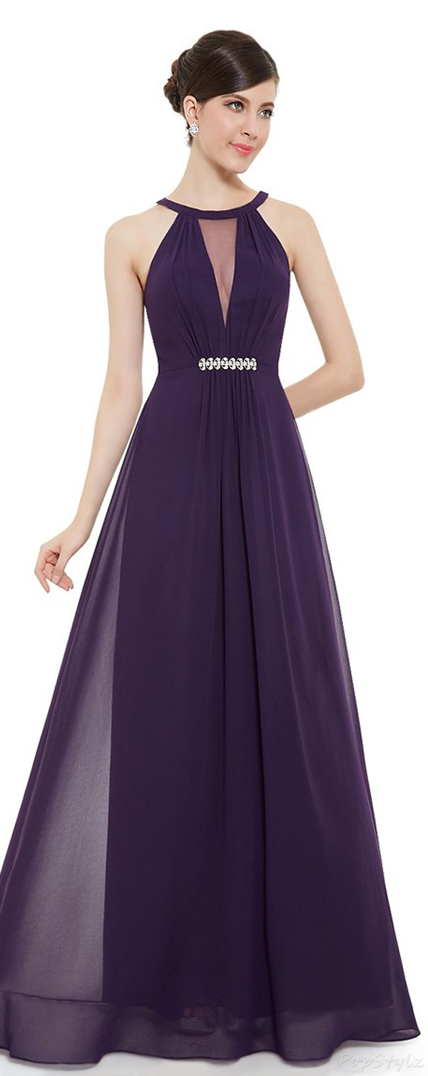Ever Pretty 09995 Sleeveless Rhinestones Ruched Waist Formal Dress