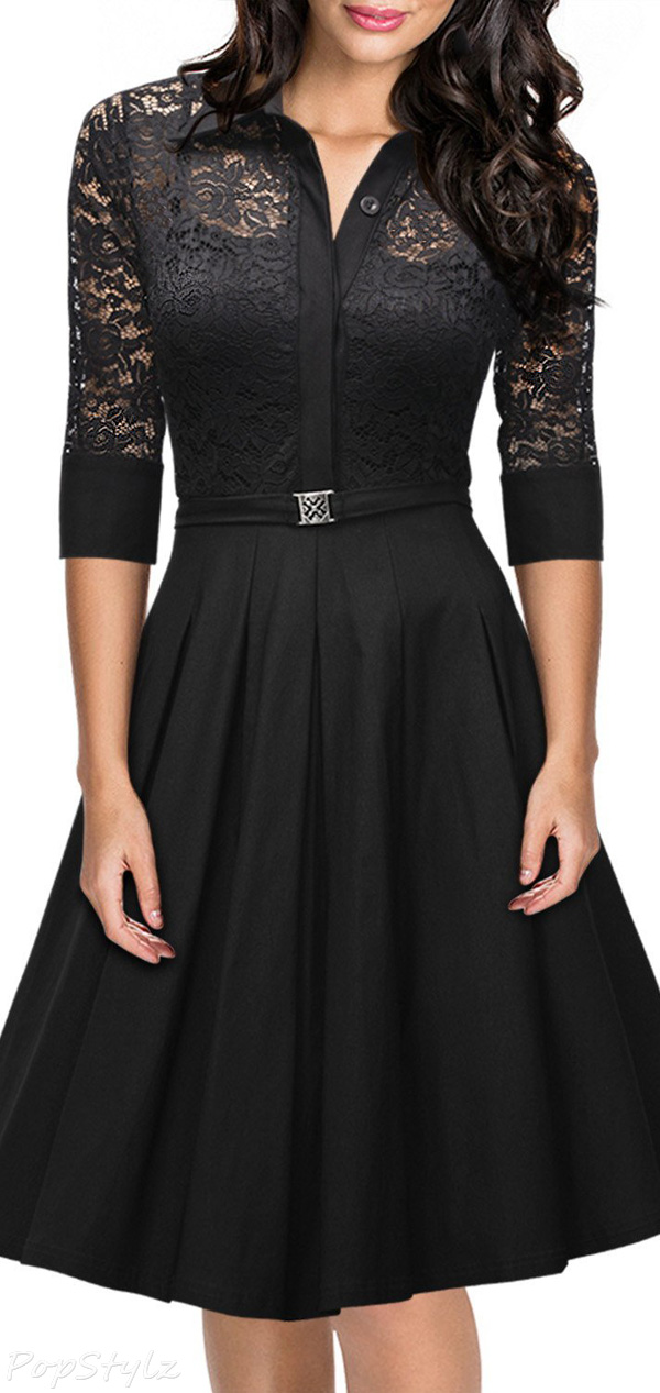 Missmay Vintage 1950s Style 3/4 Sleeve Lace Flare Dress