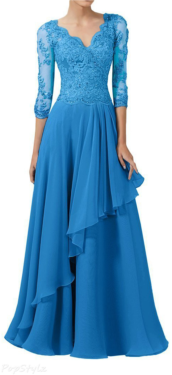 Sunvary Chiffon & Lace Half Sleeves Long Formal Dress