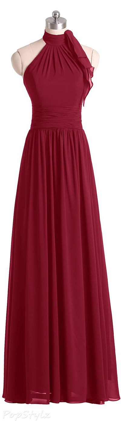 Sunvary Chiffon Halter A-line Maxi Formal Dress