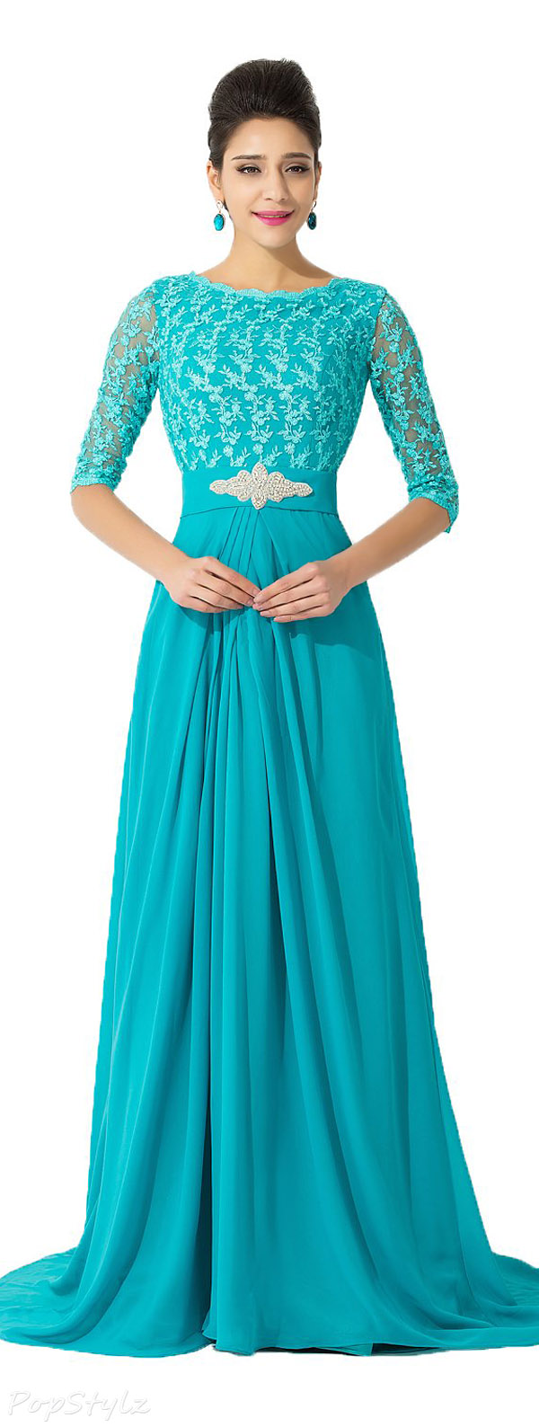 Sunvary Chiffon Half Sleeves Long Formal Dress