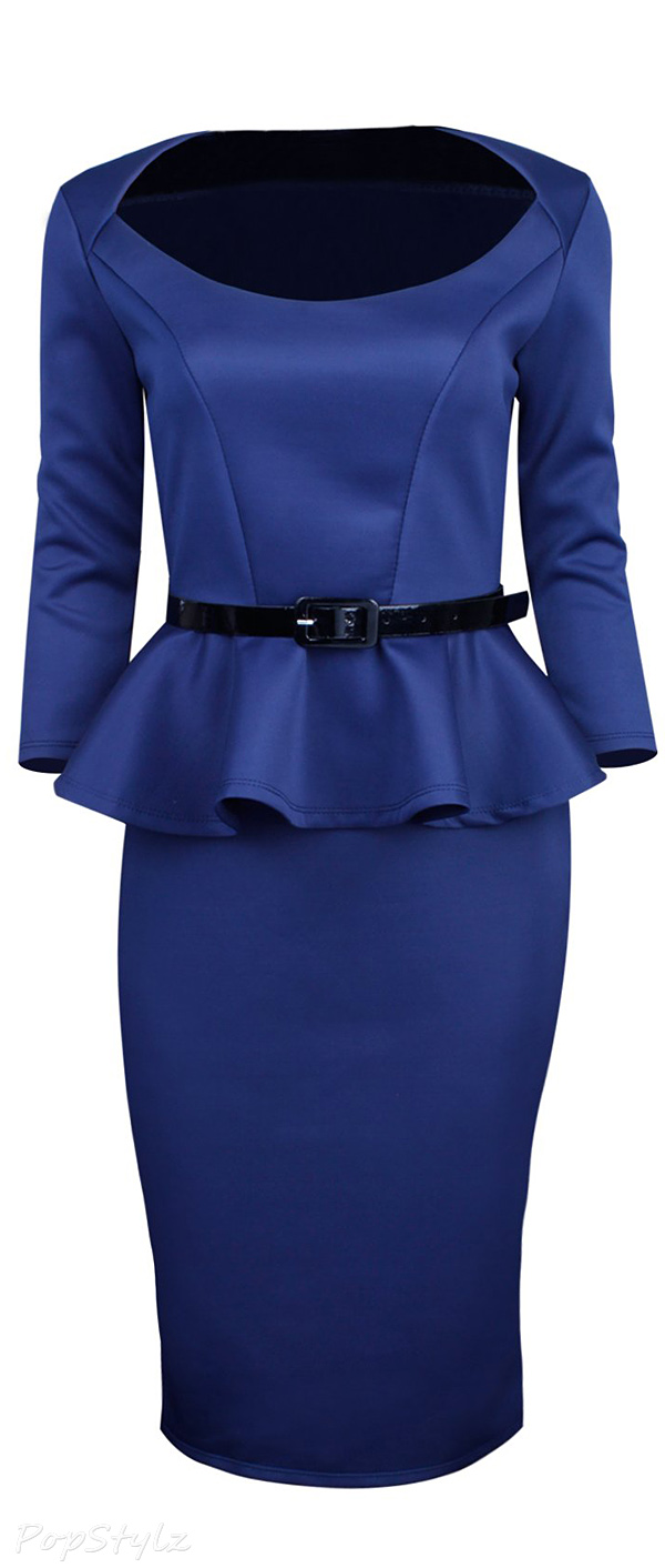 Tom's Ware Classic Long Sleeve Belted Peplum Midi Dress