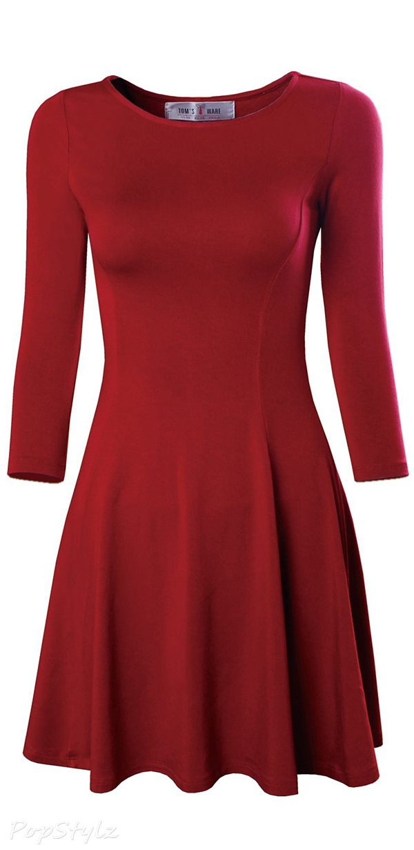 Tom's Ware Casual Slim Fit & Flare Round Neckline Dress