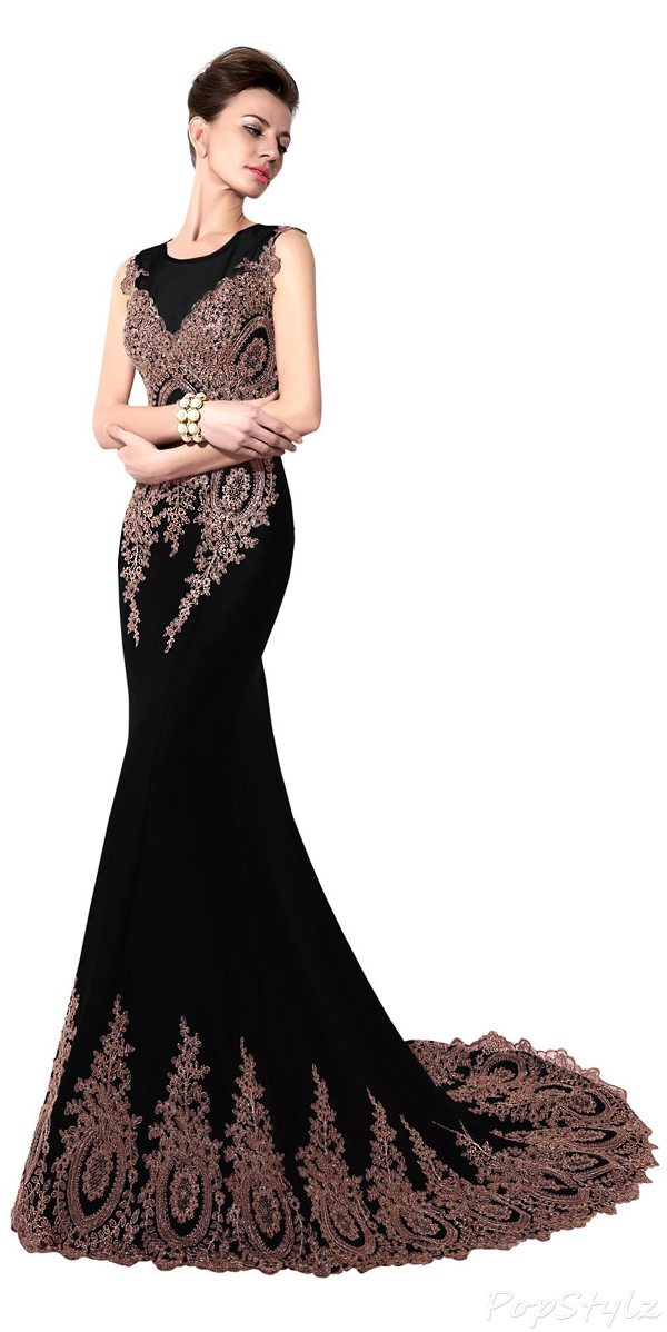 Sarahbridal Appliques Long Trailing Mermaid Evening Gown