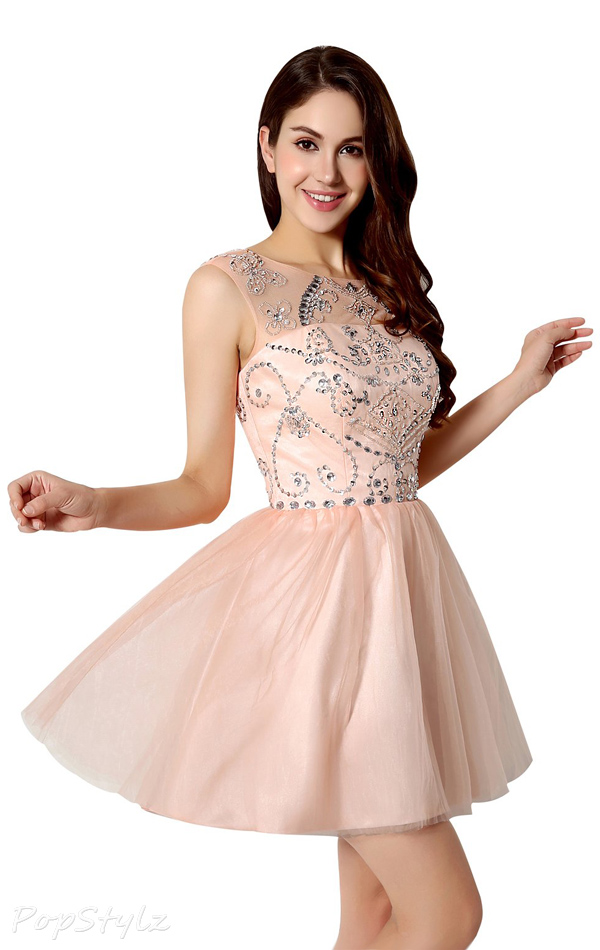 Sarahbridal SD133 Short Tulle Beaded Formal Dress
