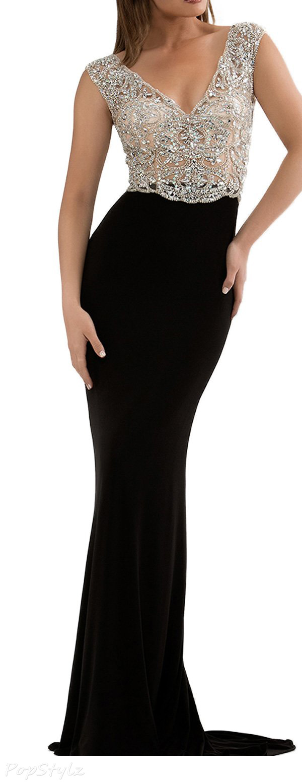 SeasonMall V Neck Open Back Evening Gown