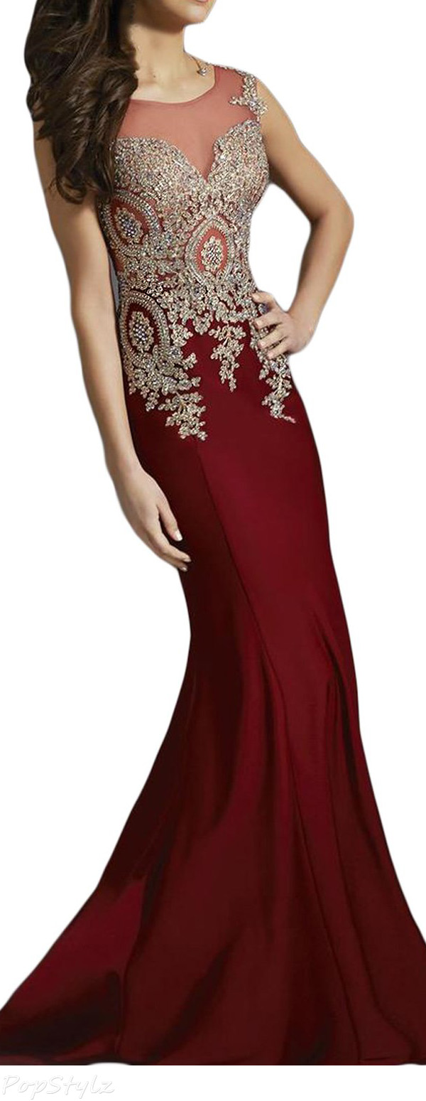 SeasonMall Luxury Sweep Train Mermaid Evening Gown
