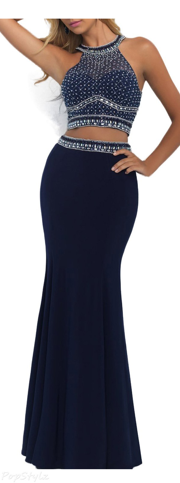 SeasonMall Two-Piece Mermaid Long Formal Dress