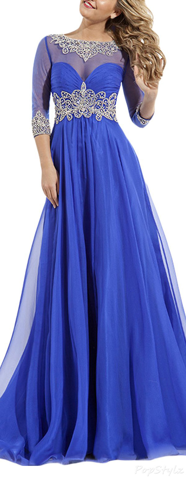 SeasonMall Chiffon & Tulle Court Train Evening Gown