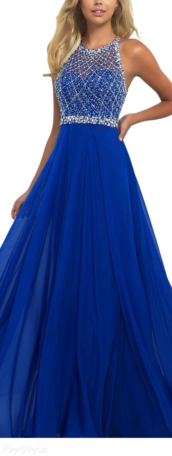 SeasonMall Chiffon & Tulle A Line Halter Open Back Dress