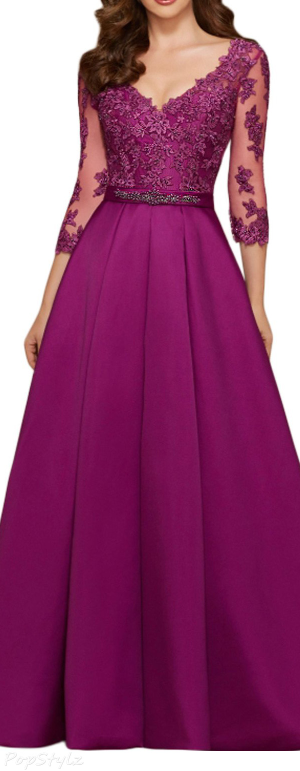 SeasonMall Satin A Line V-Neck Formal Dress