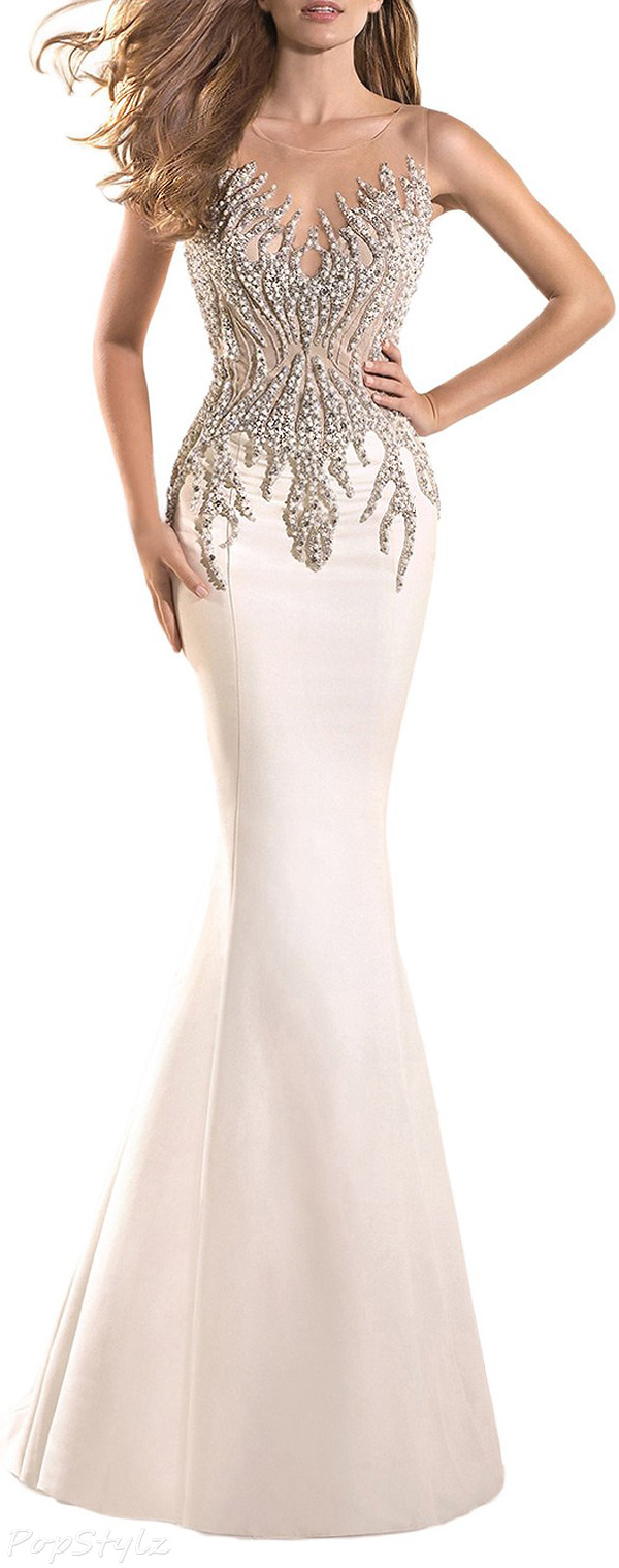 SeasonMall Tulle & Satin Long Mermaid Evening Gown