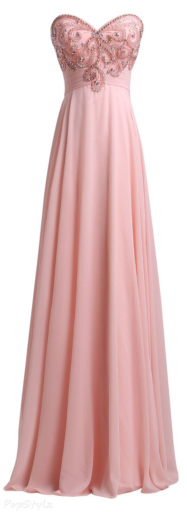 SeasonMall Chiffon A Line Sweetheart Evening Dress