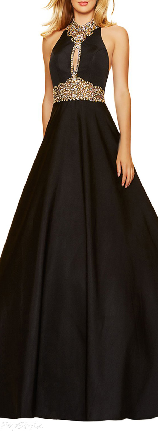 LovingDress High Neck Satin & Rhinestones Evening Gown