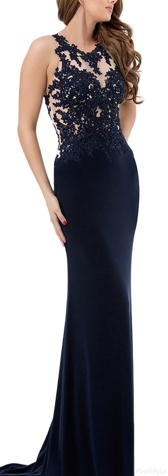 LovingDress Scoop Sheath with Applique Evening Dress
