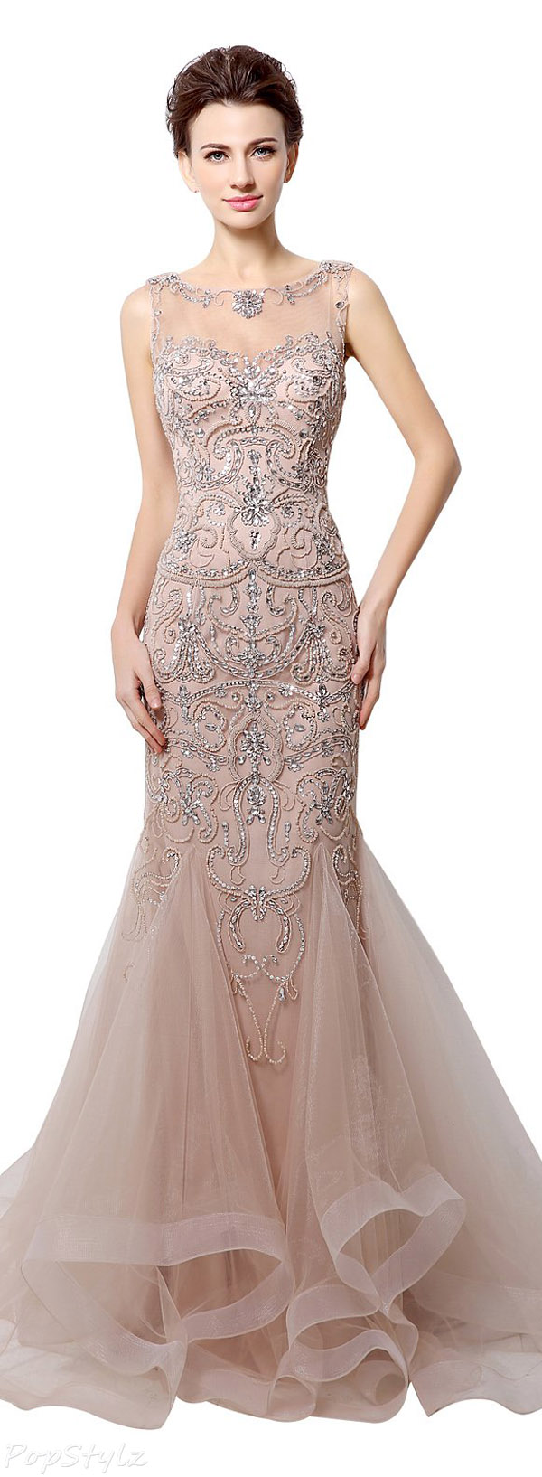 Sarahbridal 2016 Tulle Beaded Mermaid Evening Gown