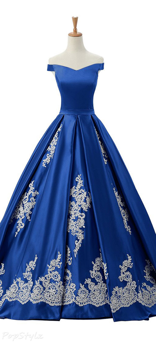 Sunvary 2016 Cap Sleeves Appliqued Ball Gown