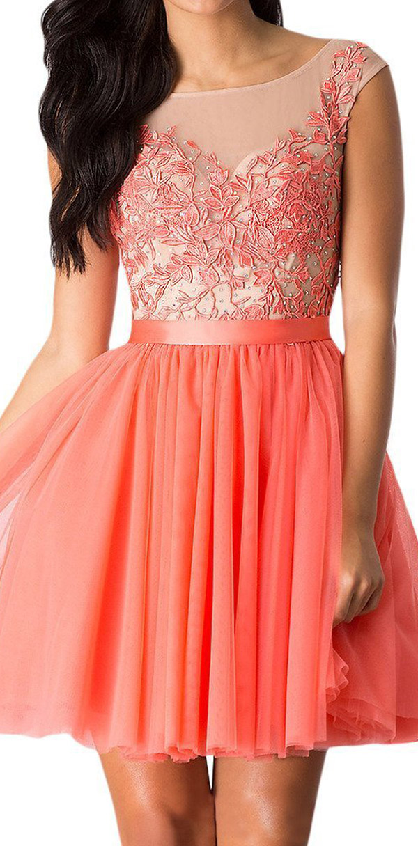 Sunvary Lace and Tulle Mini Cocktail Dress