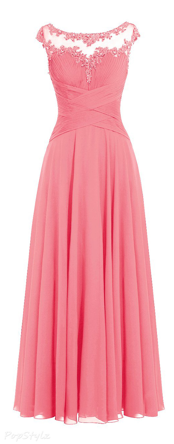 Diyouth Cap Sleeves Scoop Neck Pleated Chiffon Dress