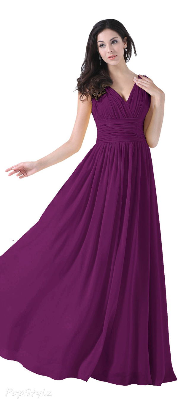 Diyouth V-Neck Long Chiffon Formal Gown