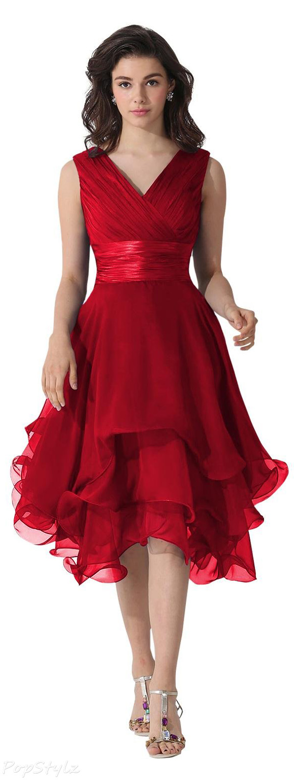 Dora Bridal V-Neck Chiffon Formal Dress