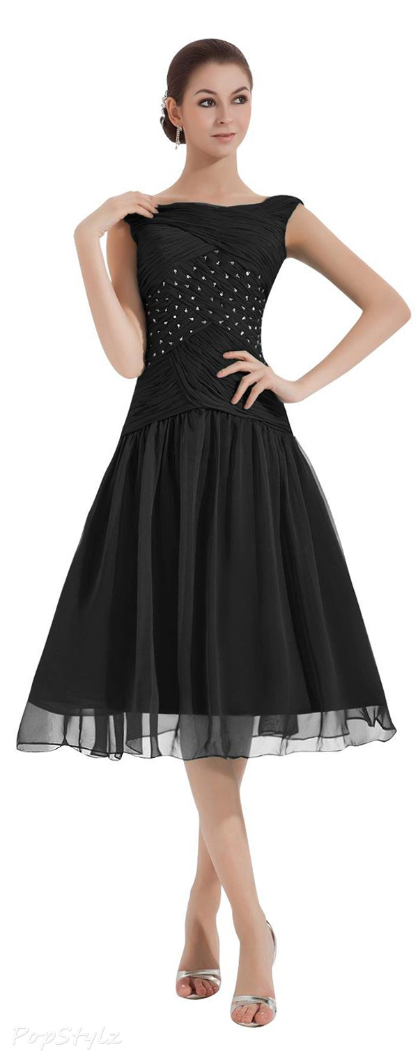 Dora Bridal Women´s Tea-Length Ruched Dress