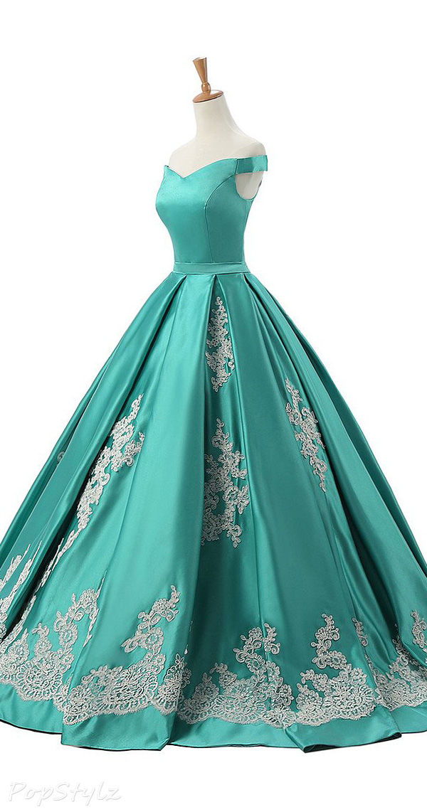 Sunvary 2016 Cap Sleeves Satin & Appliques Ball Gown