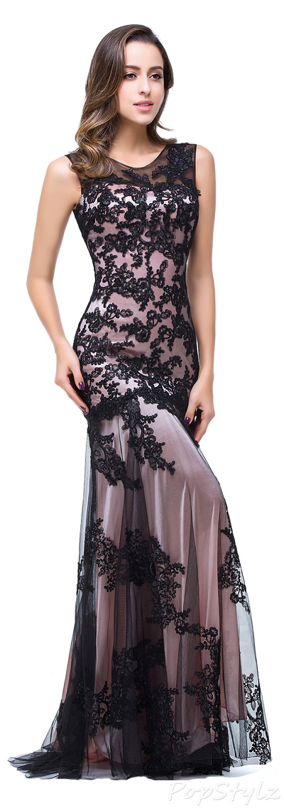 Babyonline 2016 Scoop Neck Lace Applique Long Evening Gown