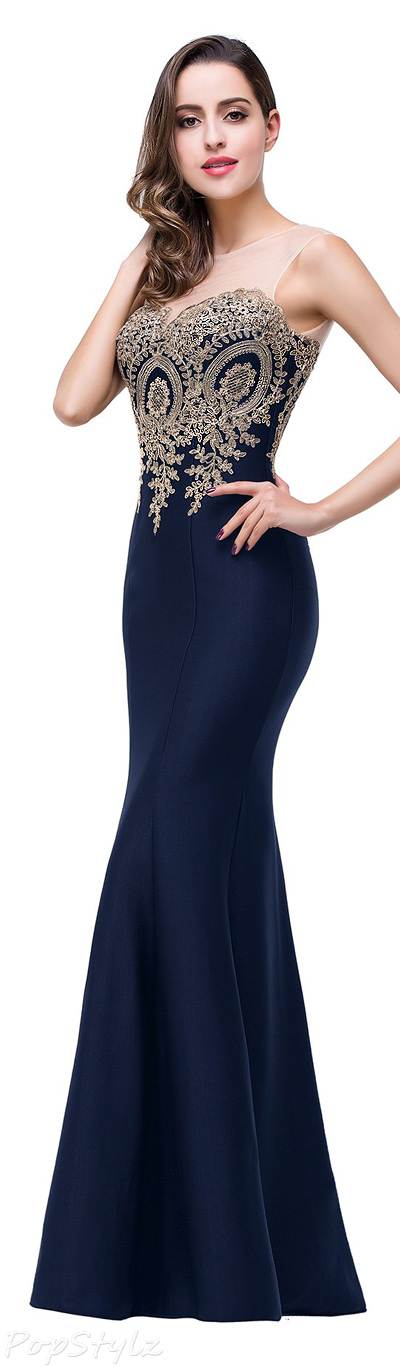 Babyonline Lace Applique Long Formal Mermaid Evening Gown