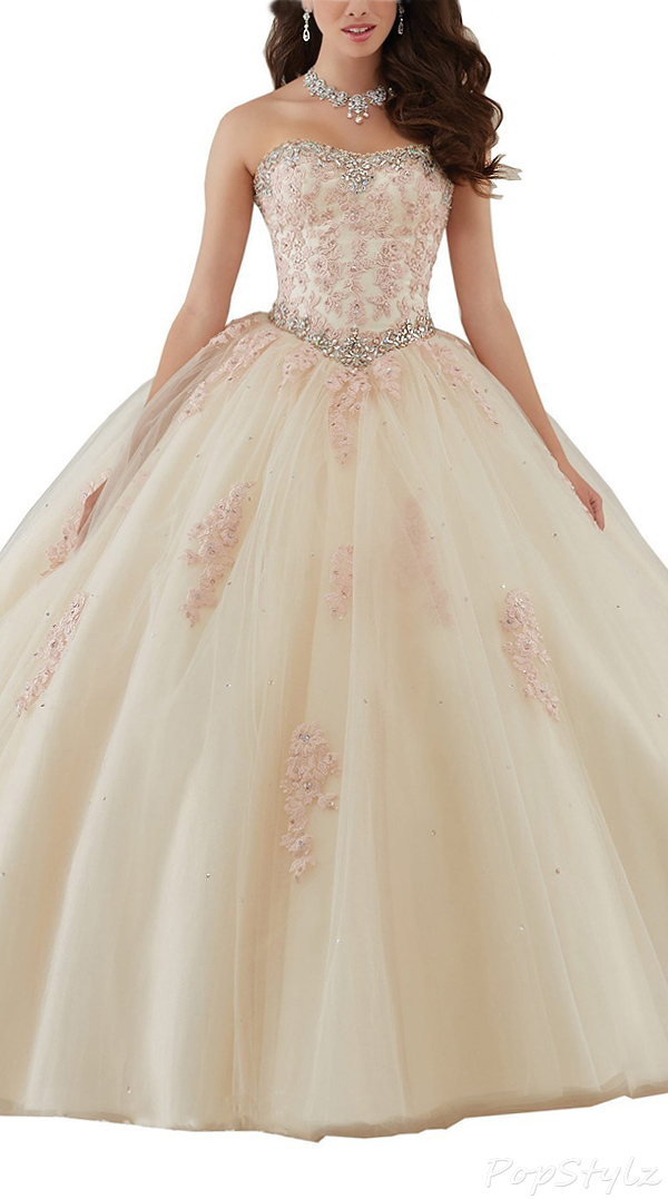 Kittybridal Beautiful Strapless Flowing Ball Gown