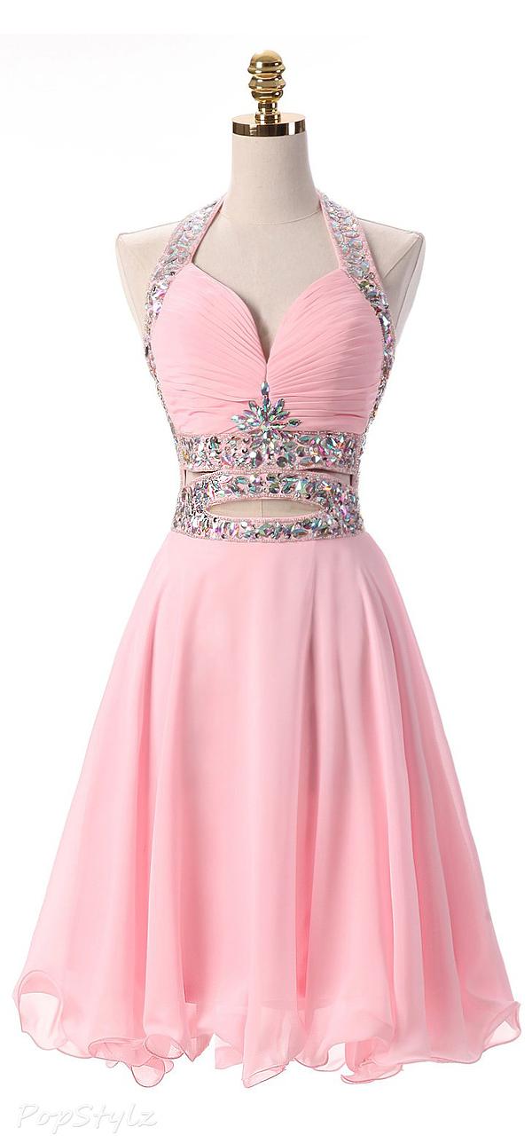 Kittybridal Short Halter Formal Evening Dress