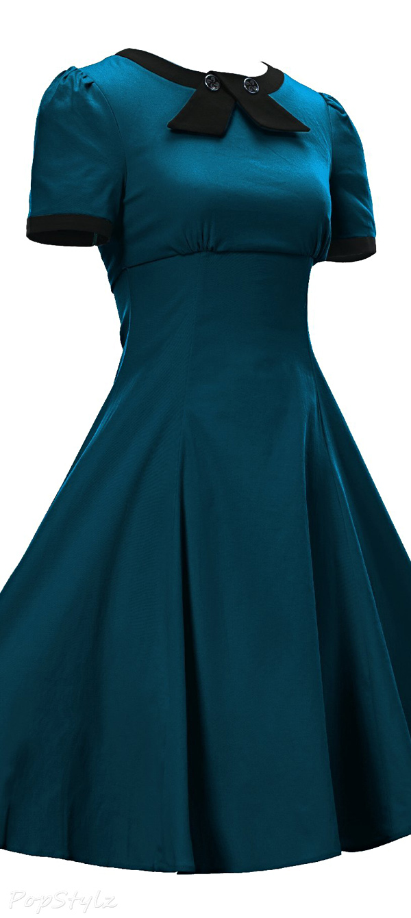 Luouse Vintage 1950's Retro Tea Length Dress