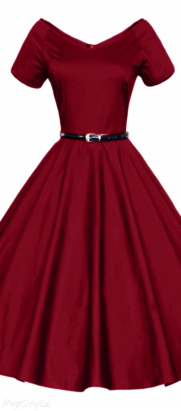 Luouse Vintage V-Neck Rockabilly Pinup Dress