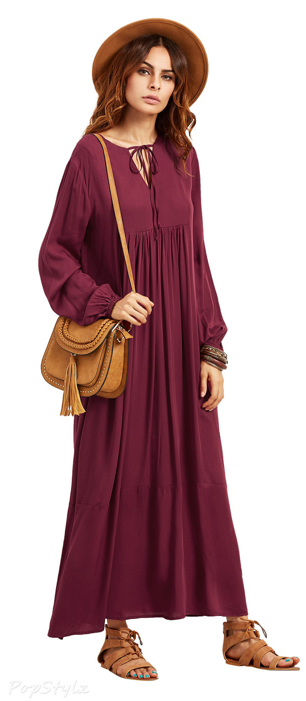 Milumia Lace Up V Neck Long Sleeve Maxi Dress
