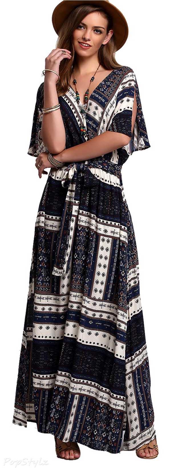 Milumia Vintage Tie-Waist Print Maxi Dress