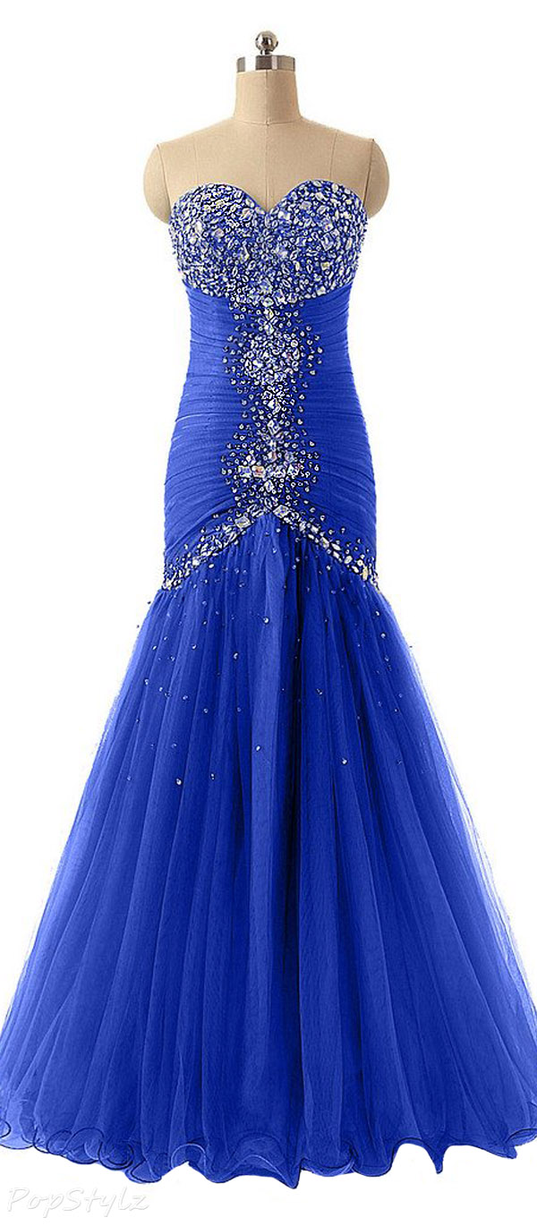 Sunvary 2016 Rhinestone Tulle Mermaid Sheath Evening Gown