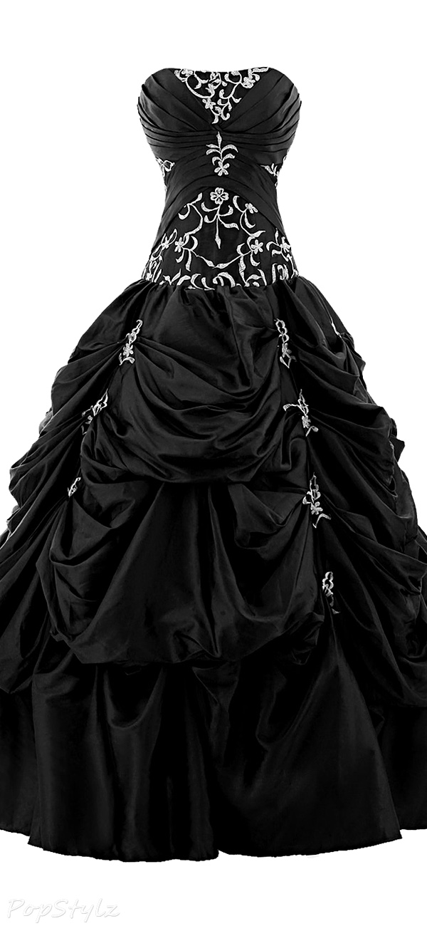 Sunvary Strapless Appliqued Ruffled Ball Gown