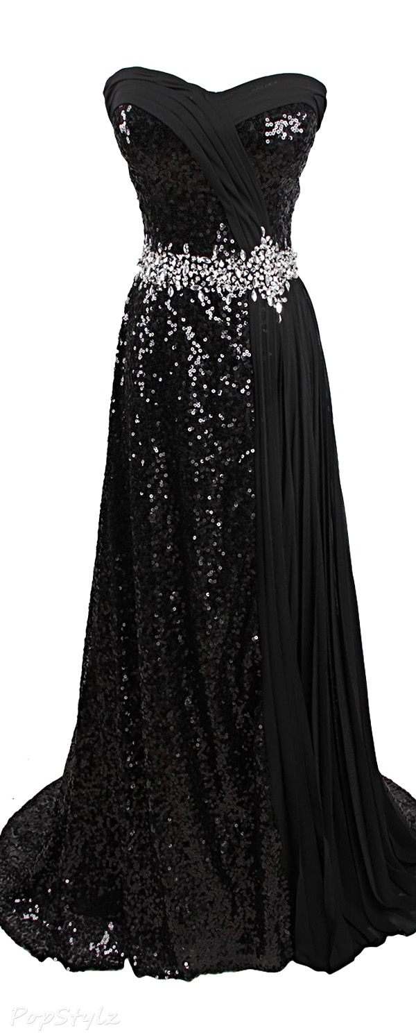 Sunvary Chiffon Sequin Long Formal Evening Gown