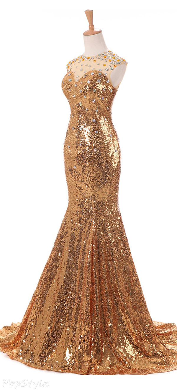 Sunvary Gold Jewel Mermiad Sequin Prom Dance Mother of the Bride Formal Evening Gown Dress