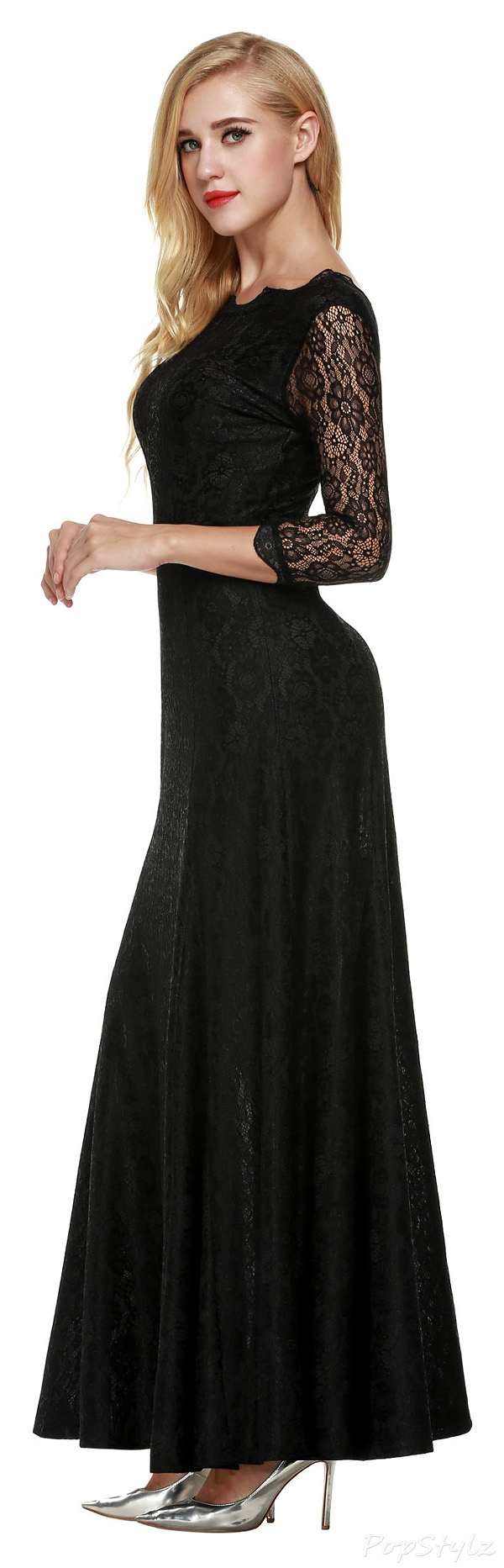ANGVNS Long Lace Formal Maxi Dress
